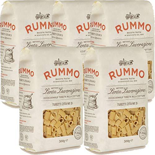 Tubetti Zite Lisci | Rummo | 5kg Maxi Formato | Pasta | Grano 100% Italiano | Confezione 10 Pacchi da 500gr | Idea Regalo