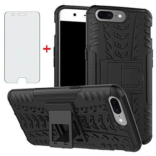 Phone Case for Oneplus 5 with Tempered Glass Screen Protector Cover and Stand Kickstand Hard Rugged Hybrid Cell Accessories Oneplus5 A5000 One Plus5 1 Plus 1plus Five One+ + 1+5 1+ 5 Cases Men Black