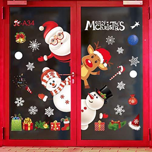 ZOYLINK Weihnachten Fenstersticker, Weihnachten Aufkleber Fenster Weihnachten Dekoration Enthält Schneeflocken Weihnachtsmann Elch Schneemann Wandaufkleber