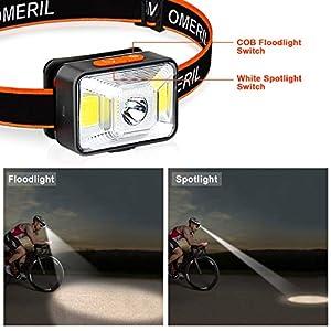 Linterna Frontal LED USB Recargable (2 Piezas), OMERIL Linterna Cabeza Super Brillante, 5 Modos de Luz (Blanco y Rojo), IPX5 Impermeable Frontal LED para Correr, Acampar, Pescar, Ciclismo, Camping
