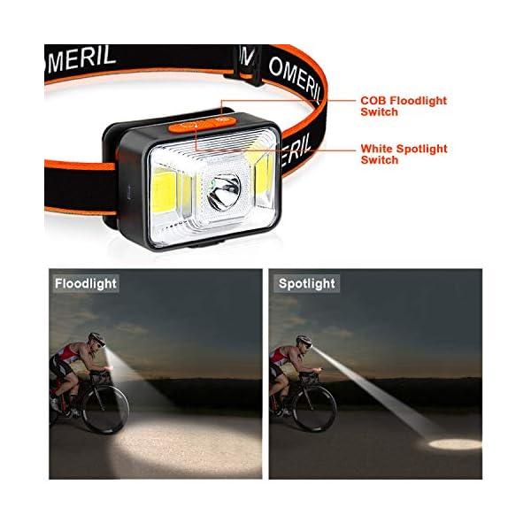 OMERIL Linterna Frontal LED USB Recargable, Linterna Cabeza Muy Brillante, 5 Modos de Luz (Blanco y Rojo), IPX5… 2