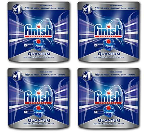 Pastillas para lavavajillas Finish Quantum, 400 unidades, Powerball, potente limpieza, potente desengrasante y brillo, Megapack con 400 pastillas de acabado