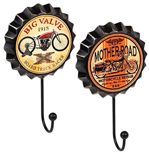 Lashuma 2er Pack Kronkorken Wandhaken, Retro Garderobenhaken Größe 19 x 11 cm, Antike Küchen Haken Druck Motorrad