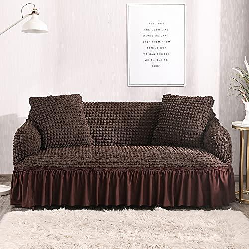 Funda de sofá, funda elástica para sofá de esquina seccional para sala de estar, funda de sofá roja de 1/2/3/4 plazas para sofás (color marrón oscuro, especificación: 3 asientos 190 230 cm)