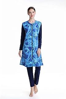 ملابس سباحة للمسلمات، مرنة بنقشة زخارف هندسية، بوركيني سباحة بحجاب بدلة سباحة تغطي الجسم بالكامل (اللون: أزرق، المقاس: L)
