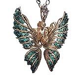veyik Papillon Collier Femme avec Cristaux Cadeau Emballage de Boîte Cadeau Eélégant Collier Pendentif Aile d'ange Cadeau pour Fille ou Femme Amoureux de la Mode Bijoux (Or)