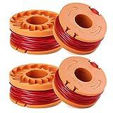 SUNSK Bobines pour Coupe-bordures Worx WA0010 Replacement Trimmer Spool Line Bobine de Remplacement Fil pour Débroussailleuses Accessoires pour outillage de jardin 4 Pièces