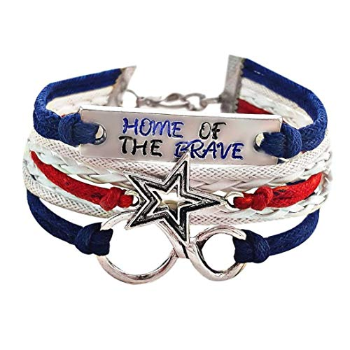 Home of the Brave Hand Stamped Quote, Star, Infinity Charm Bracelet
