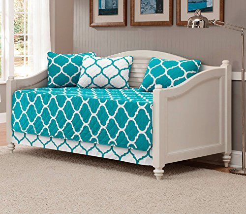 Mk Collection 5pc DayBed Modern Elegant Bedspread Cover Set Geometric Contemporary Pattern Turquoise/White Quilted New
