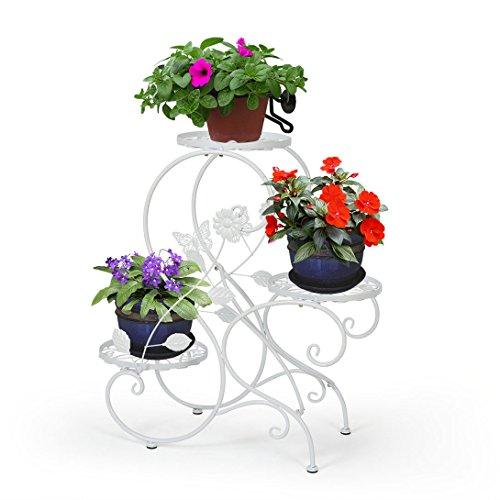 HLC Metall 3 Töpf Blumenständer Blumentreppe Pflanzer,S-förmig, Farbe: Weiß