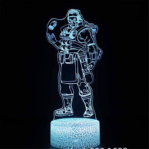 Lámpara Apex Legends E 3D ilusión luces de noche para niños 16 colores cambiando con control remoto, regalo de cumpleaños y vacaciones para niños niñas