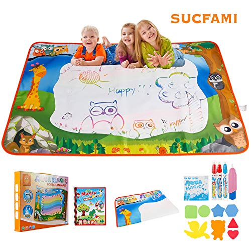 Sucfami Magic Water Coloring Book Portable Magic Color Wonder Dinosaur Drawing Book Direct Reusable Painting Toy Kit with Water Pens, Early Education Toys Gift for Kids
