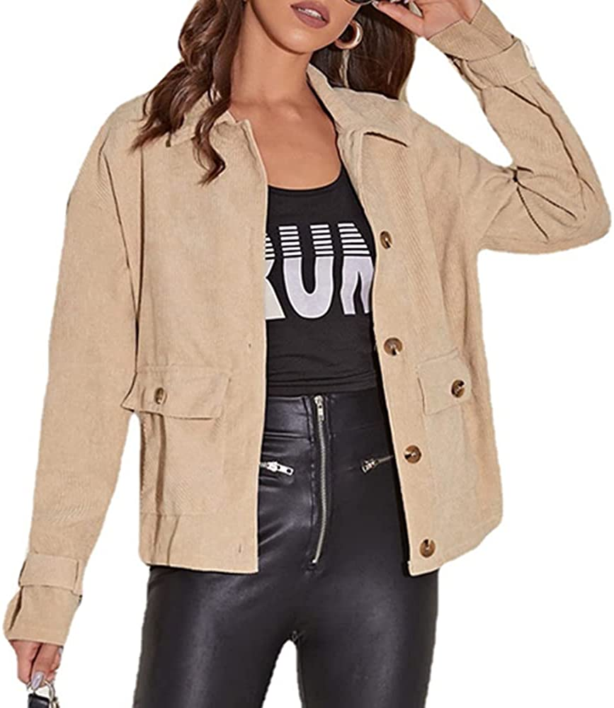 JJSUnS Womens Casual Corduroy Long Sleeves Jacket with Pockets Buttons Down Lapel Collar Coat Fashion Outwear Tops