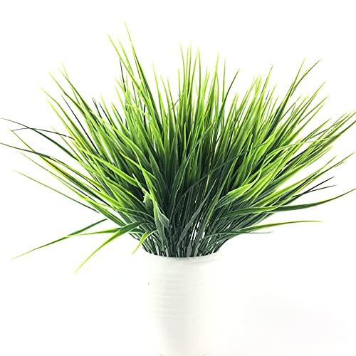 Androxeda 8 Ramos Plantas de plástico artificiales realistas Hierba de trigo falso Verdor Arbustos de plástico artificial para exteriores Mesa para el hogar Cocina Oficina Boda Jardín Grave Verandah D