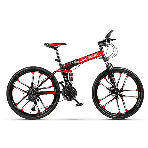 Novokart - Bicicleta Plegable Unisex para Adulto, Color Negro y Rojo, 21 Stage Shift