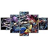 MPPSU Carteles De Figuras De Anime Manga 5 Paneles Impresión HD Cuadros Decoracion Dormitorios Salon Modernos 150Cm×80Cm con Marco