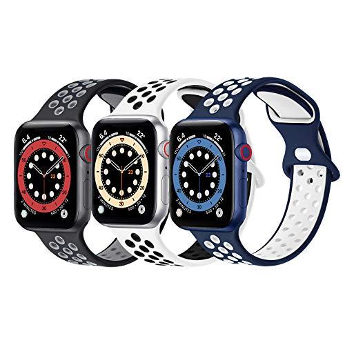 FENGLIN Wasserdichtes Silikon Armband Kompatibel mit Apple Watch Armband 44mm 42mm 40mm 38mm,Poröses und Atmungsaktives Armband Kompatibel mit Apple Watch SE/iWatch Serie 6/5/4/3/2/1.