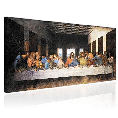 Topquadro XXL Wandbild, Leinwandbild 100x50cm, Das Letzte Abendmahl, Jesus und die Jünger, Fresko Religion - Panoramabild Keilrahmenbild, Bild auf Leinwand - Einteilig
