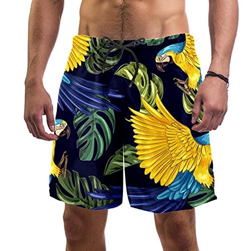 Dibujado a mano realista plantas tropicales animales traje de baño playa surf pantalones cortos para hombres L