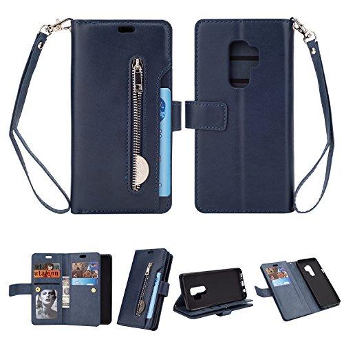 Yobby Reißverschluss Brieftasche Hülle für Samsung Galaxy S9, Samsung Galaxy S9 Handyhülle,Slim Luxus Leder Flip Case [9 Kartefach] Magnetisch mit Stand und Handschlaufe Schutzhülle-Blau