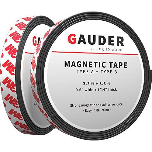 GAUDER Typ A + B Magnetband stark selbstklebend I Für Fliegengitter und Vorhänge I Magnetstreifen (1m + 1m)