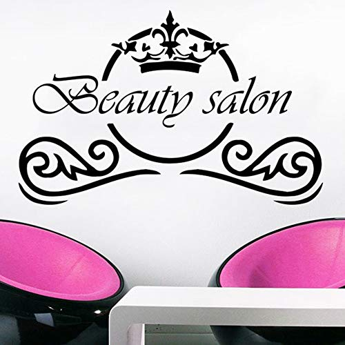 SLQUIET Beauty Salon Wandapplikation Fashion Makeup Salon Spa Salon Vinyl Aufkleber Frisur Wandkunst Dekoration Beauty Salon Wandbild Interior Design 12 hellblau 89x57cm