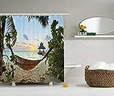 Nyngei Strand Hängematte Decor Collection Hängematte auf Sandstrand Palmen Holzsteg Sonnenuntergang Blick Polyester Bad Duschvorhang Set mitGrün Blau Elfenbein