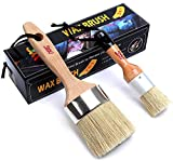 Chalk and Wax Paint Brush Furniture - Painting or Waxing - Milk Paint - Dark or Clear Soft Wax - Home Decor Cabinets Stencils Woods - Natural Bristles 1 Small Round and 1 Large Oval Brushes
