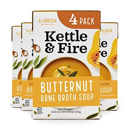 Kettle and Fire Butternut Squash Chicken Bone Broth, Paleo Diet, Gluten Free, High in Protein and Collagen, 4 Pack