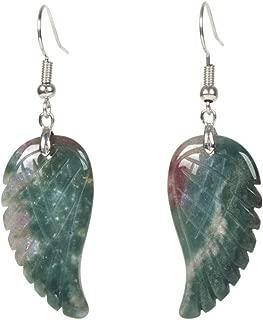 Gemstone Crystal Healing Reiki Chakra Handmade Angel Wing Dangle Earrings