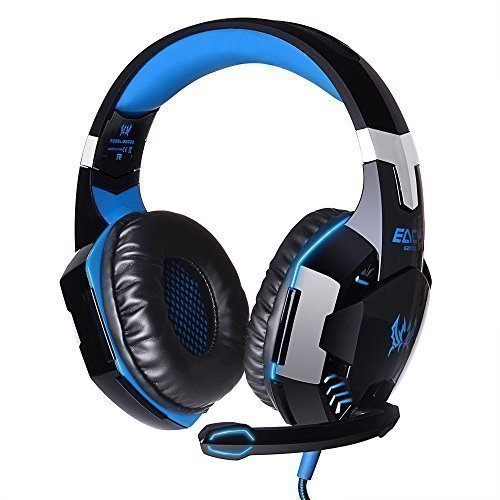 KingTop EACH G2000 Over-ear Cuffie auricolari microcuffia con microfono stereo Bass luce del LED per PC del gioco, Blu e Nero
