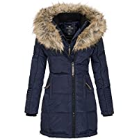 Geographical Norway Belissima - Chaqueta de invierno para mujer con capucha de piel XL azul marino M