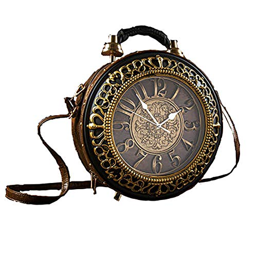 Bolsos de piel sintética de moda con reloj real, bolso de hombro casual para mujer de noche, estilo retro vintage Steampunk para mujeres y niñas