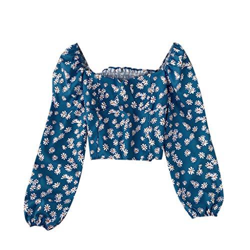 Frauen Schulterfrei Langarm-Shirt Top,Damen Party Oberteil Bustier Schulterfrei Bauchfrei Crop Tops Rot (Blau, S)