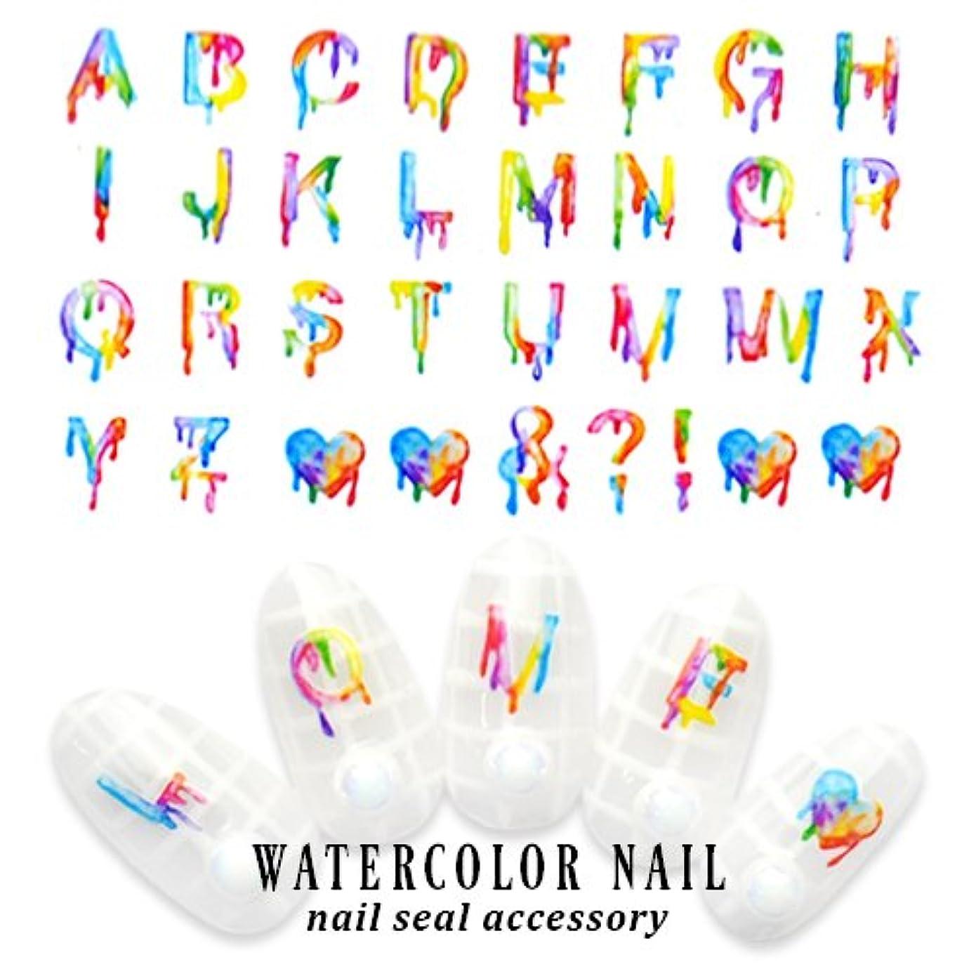 夏派手ネイルを楽しく簡単に!水彩アルファベット 文字系 ネイルシール [DS-223] ウォーターネイルシール サマーネイルアート ジェルネイル
