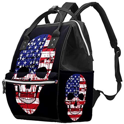Mochilas Bolsa de pañales Mochila para portátil Ligero Senderismo Camping Mochila de Viaje para Mujeres Bandera Americana Cráneo Cool