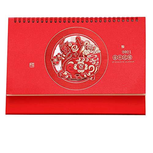 Leaixiang Chinesische Kalender 2021 Mini 2021 Notiz Kalender für das Mondjahr des Ochsen,26x8x18.3cm,Chinesisches Papierschnittblumenmuster Teamwork Kalender 2021 für Die Büroorganisation