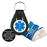 Leather Medical Alert ID Keychain - Diabetes - Penicillin - Asthma - Men, Women, Children, (incl. Custom Engraving)