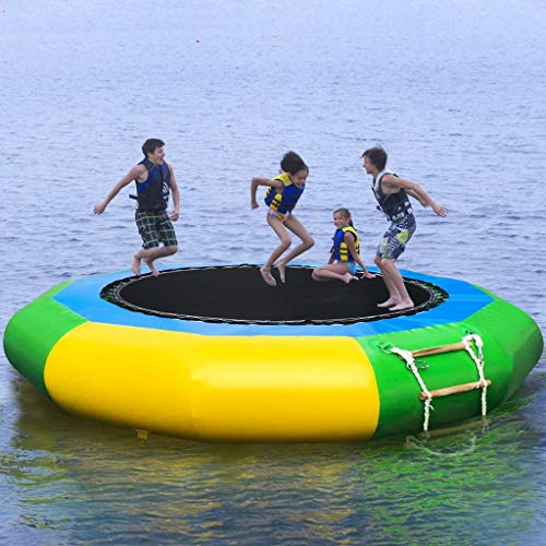 Inflatable Water Trampoline ,Safety Jumping Padded Water Bouncer,Bounce Swim Platform for Water Sports Outdoor for Adult Kids ,Summer Pool Swimming Lake Sea Water Activities Games (From US, 10FT)
