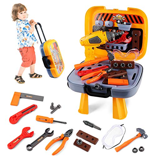 Hanmulee Kids Tool Set, 46Pcs Childrens Toy DIY Tool Kit with Electric Drill, Kids Workbench Pretend Play Tool Box for Age 3 4 5 6 7 Toddlers Boys