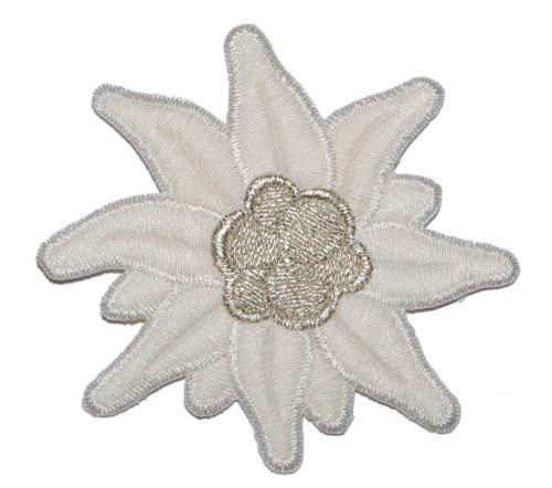 alles-meine.de GmbH Edelweiß 8,4 cm * 7,8 cm Bügelbild Aufnäher Applikation Silber Blume Bayern weiß Edelweiss Trachten