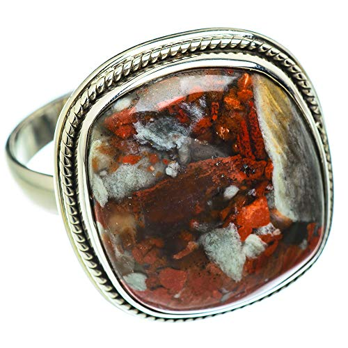 Ana Silver Co Large Red Jasper Ring Size Z+1 (925 Sterling Silver)