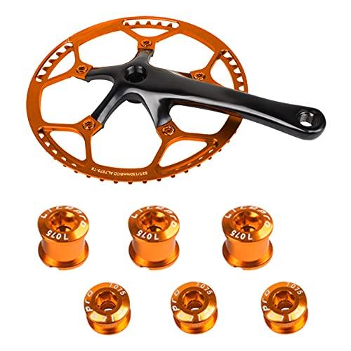 Tornillos Plato Bicicleta, Tornillos de Plato MTB 6 pack M8 Tornillos Único Aluminio Tornillos de bielas Bicicleta Tornillos para Bicicleta de Carretera Montaña, BMX, MTB, Fixie