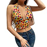 Qtinghua Mujeres Sexy Cuello en V Halter Crop Top Backless Floral Impreso Y2k Tops Wrap Vendaje Camis Vintage 90S Streetwear Tanques Top (Yellow, Medium)