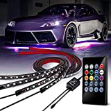 Banpo 4Pcs Car Underglow LED Strip Light, 8 Colors LED Underbody Lights, Under Car Tube System Neon Accent Light Kit with Sound Active and Wireless Remote Control (2x36 & 2x48)