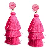 Me&Hz Colorful Layered Tassel Earrings for Women Girls Bohemian Statement Dangle Drop Fringe Stud Earring Hypoallergenic Birthday/Valentines Day Gift, Hot Pink
