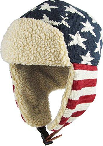 Stars and Stripes America Flag Aviator Trapper hat Trooper Ear Flaps Ushanka Eskimo Bomber Russian Warm Winter Cold (One Size, Flag Original)