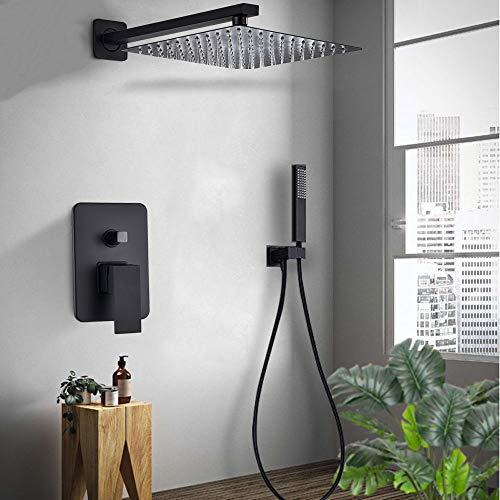ZYHYCH Juego de ducha negro oculto, mezclador de grifo de ducha montado en la pared de 8/10/12/16 pulgadas, grifo de ducha de lluvia para baño con duc.