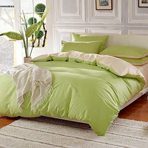 yaonuli katoenen deken, 4-delig, eenkleurig, fruitrijst, groen, bed, 1,5 m (dekbedovertrek 200 x 230 vellen, 245 x 250 cm)