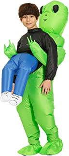Green Alien Carrying Human Costume Inflatable Funny Blow Up Suit Cosplay for Party